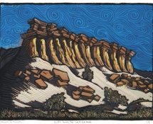 2015 Manny Mellor, Cliffs Along The Sheffield Road, Linocut On Paper 14x11